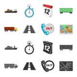 24 uur op 24 uur, weg, vrachtwagen, JPS Loqistic, vastgestelde inzamelingspictogrammen in zwarte, illustratie van de het symboolv Stock Afbeelding