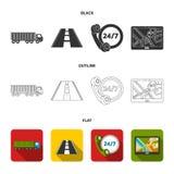 24 uur op 24 uur, weg, vrachtwagen, JPS Loqistic, vastgestelde inzamelingspictogrammen in zwarte, vlak, vector het symboolvoorraa Stock Afbeeldingen