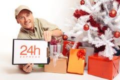 24 uur Uitdrukkelijke Levering, zelfs op Kerstmis! Stock Fotografie