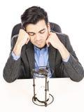Uurglas en zakenman Stock Afbeelding