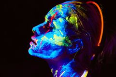 Free UV Body Art Painting Of Helloween Female African Warrior Stock Photography - 129898222
