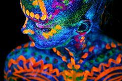 UV Body Art Painting Of Helloween Female African Warrior Royalty Free Stock Photo