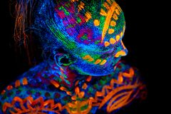 UV Body Art Painting Of Helloween Female African Warrior Stock Images