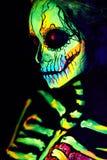 UV Body Art Painting Of Helloween Female Skeleton Stock Photo