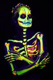 UV Body Art Painting Of Helloween Female Skeleton Royalty Free Stock Photography
