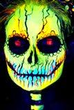 UV Body Art Painting Of Helloween Female Skeleton Stock Photos