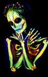 UV Body Art Painting Of Helloween Female Skeleton Stock Image