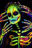 UV Body Art Painting Of Helloween Female Skeleton Royalty Free Stock Photo