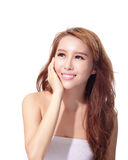 UV care and Beautiful woman face Royalty Free Stock Photos
