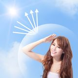 UV care and woman face with sunshine Royalty Free Stock Photo