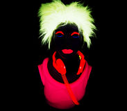 Uv glöddansare för sexigt neon Arkivfoton