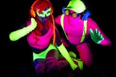 Uv glöddansare för sexigt neon Arkivbild