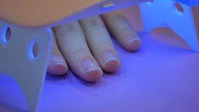 UV lamp gel polish manicure process in home conditions. Hand in UV Lamp Nail Dryer. Woman Drying Nails. A manicure in the salon. Manicure in process - putting stock footage