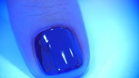 UV lamp gel polish manicure process in home conditions. Hand in UV Lamp Nail Dryer. Woman Drying Nails. A manicure in the salon. Manicure in process - putting stock video