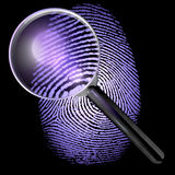 UV lit fingerprint under a magnifying glass. 3D rendering isolated on a dark, black background Royalty Free Stock Image