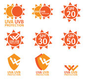 UV LOGO , uva uvb and spf with orange color. Isolated on white background Royalty Free Stock Photography