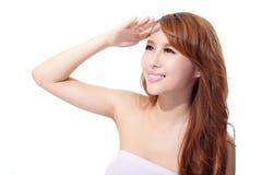 UV omsorg och härlig kvinnaframsida Royaltyfri Foto