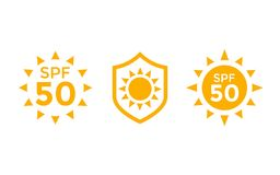 UV, proteção do sol, ícones do vetor do SPF 50 no branco ilustração do vetor