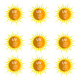 UV Protection  9 logos set. UV Protection logo with half shadow sun with SPF betweetn 15 to 50 and with UVA protection index (PA) with two and three plus Royalty Free Stock Images