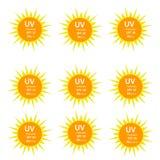 UV Protection  9 logos set Royalty Free Stock Images