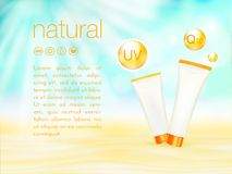 UV protection. Sunblock ads template, sunscreen and sunbath cosmetic products design. 3d vector illustration. Sunny Stock Photos