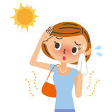 UV sunburn illustration for women. The woman who is troubled with summer strong sunlight Royalty Free Stock Image