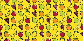 Uva arancio limone della banana di Apple e modello senza cuciture di ripetizione della frutta della pera Fotografia Stock Libera da Diritti