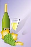 Uva branca do vinho, a de vidro e a verde Imagem de Stock Royalty Free