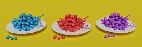 Uva colorata sui piatti rappresentazione 3d illustrazione vettoriale