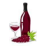 Uva con la bottiglia di vino rosso e di vetro rossi in pieno di vino con lo spazio della copia Fotografia Stock