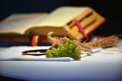 Uva e libro di preghiera Immagine Stock Libera da Diritti