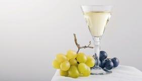 Uva e vinho branco Imagens de Stock