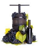 Uva manual que presiona el utensilio con el vino rojo Fotos de archivo libres de regalías