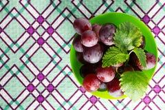 Uva rossa con la menta Fotografie Stock Libere da Diritti