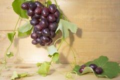 Uva su un fondo marrone Un mazzo di uva uva, foglie verdi Uva blu scuro immagini stock