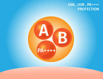 Uva, uvb und PA-Schutz auf Haut Stockfotos