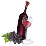 Uva vino ed illustrazione del bicchiere di vino Fotografie Stock Libere da Diritti