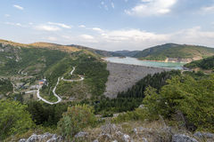 Uvac Hydro Dam and reservoir with Power Station. For Large-Scale Electricity Supply, view from hill, located near Nova Varos, Serbia, Europe Stock Images