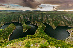 Uvac River. Wonderful canyon with the curving river. Special Reserve of Nature canyon Uvac, Serbia Stock Images