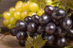 Uvas azules y verdes en la tabla de madera Imagen de archivo libre de regalías