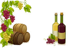 Uvas, barriles y vinos de las botellas Fotografía de archivo
