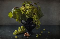 Uvas blancas, botellas de vino y un vidrio de vino Fotografía de archivo libre de regalías