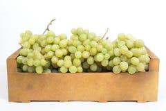 Uvas blancas frescas en una caja de madera en un fondo blanco Fotos de archivo