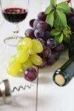 Uvas, botella, sacacorchos y vidrio rojos y verdes de vino rojo Imagen de archivo libre de regalías