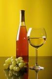 Uvas, botella y vidrio de vino Fotos de archivo libres de regalías