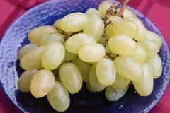 Uvas brancas com gotas do orvalho Uvas brancas com gotas do orvalho Fotografia de Stock