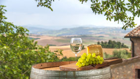 Uvas con queso y vino Foto de archivo