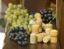 Uvas de la colección del corcho, verdes y rojas fotos de archivo