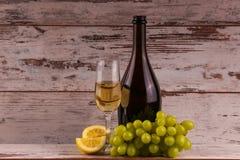 Uvas e dois vidros do vinho branco Foto de Stock Royalty Free