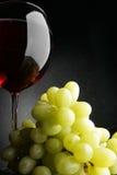 Uvas e vinho vermelho Fotografia de Stock